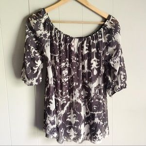 SWEET PEA Wide Neck Pleated Sheer Gray Top Size L